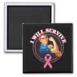 Rosie The Riveter I Will Survive Breast Cancer Refrigerator Magnet