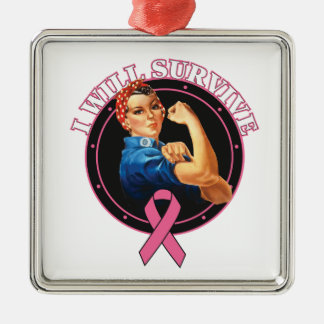 Rosie The Riveter I Will Survive Breast Cancer Ornament