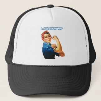 """ROSIE THE RIVETER - """"It takes a strong woman"""" Trucker Hat"""