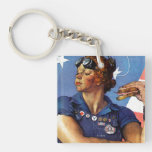 Rosie the Riveter Double-Sided Square Acrylic Keychain
