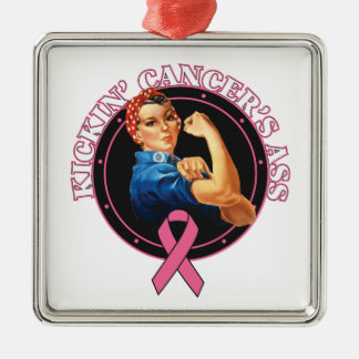 Rosie The Riveter Kickin Breast Cancer's Ass Metal Ornament