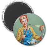 Rosie the Riveter Makes Toasted Cheese 2 Inch Round Magnet