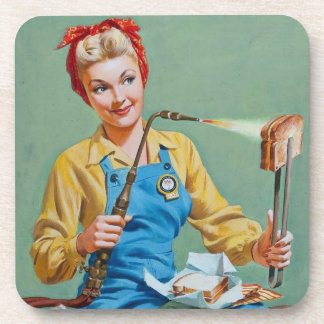 Rosie the Riveter Makes Toasted Cheese Beverage Coaster