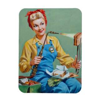Rosie the Riveter Makes Toasted Cheese Magnet