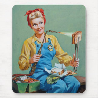 Rosie the Riveter Makes Toasted Cheese Mouse Pad