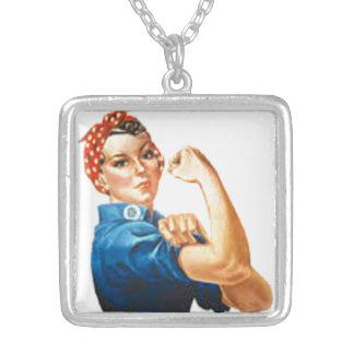 Rosie the Riveter Square Pendant Necklace