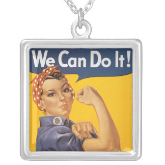 Rosie the Riveter Square Pendant Necklace