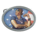Rosie the Riveter Oval Belt Buckles