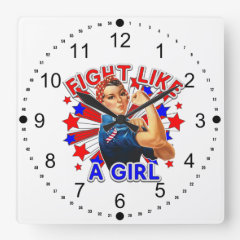 Rosie The Riveter Patriotic Fight Like a Girl Square Wallclock
