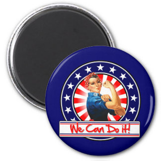 Rosie the Riveter Patriotic We Can Do It 2 Inch Round Magnet