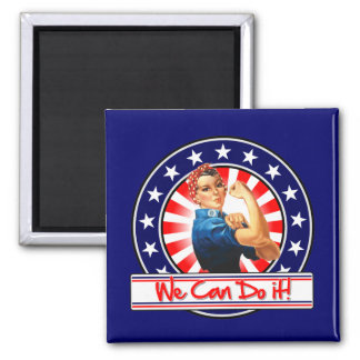 Rosie the Riveter Patriotic We Can Do It 2 Inch Square Magnet