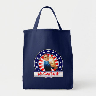 Rosie the Riveter Patriotic We Can Do It Grocery Tote Bag