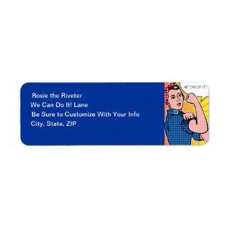 Rosie the Riveter Pop Art Style We Can Do It! Custom Return Address Label
