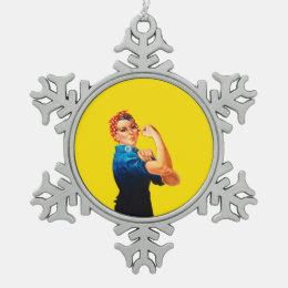 Rosie The Riveter Retro Design Style Snowflake Pewter Christmas Ornament