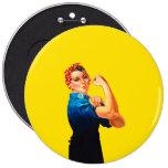 Rosie The Riveter Retro Style 6 Inch Round Button