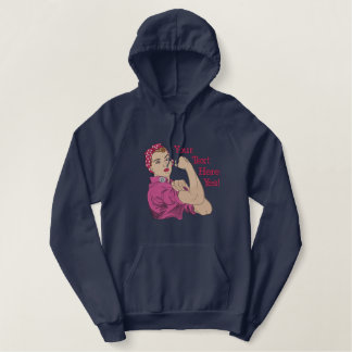 Rosie The Riveter Retro Style Large Personalized Embroidered Hoodie