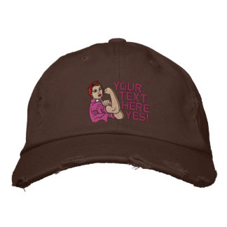Rosie The Riveter Retro Style with Your Text Embroidered Baseball Hat