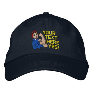 Rosie The Riveter Retro Style with Your Text Embroidered Hats