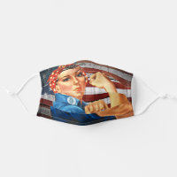 Rosie the Riveter Rustic Vintage USA flag Cloth Face Mask