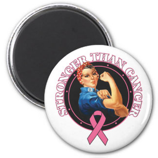 Rosie The Riveter Stronger Than Breast Cancer 2 Inch Round Magnet