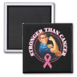 Rosie The Riveter Stronger Than Breast Cancer 2 Inch Square Magnet
