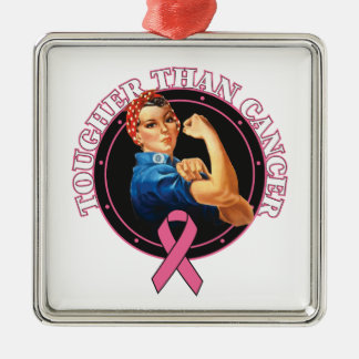 Rosie The Riveter Tougher Than Breast Cancer Ornaments