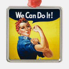"""Rosie The Riveter – """"we Can Do It!"""" Metal Ornament at Zazzle"""