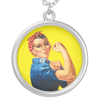 Rosie the Riveter, We Can Do It! Round Pendant Necklace