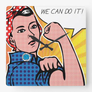 Rosie the Riveter We Can Do It! Pop Art Dots Clock