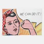 Rosie the Riveter We Can Do It! Pop Art Dots Towel