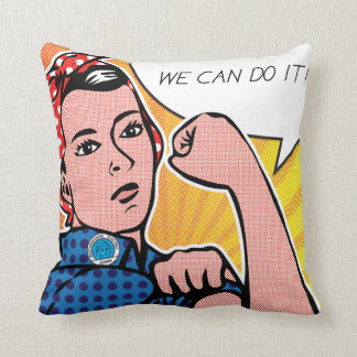 Rosie the Riveter We Can Do It! POP Art Style Dots Throw Pillows