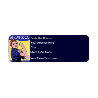 Rosie the Riveter We Can Do It! POP Art Style Custom Return Address Label