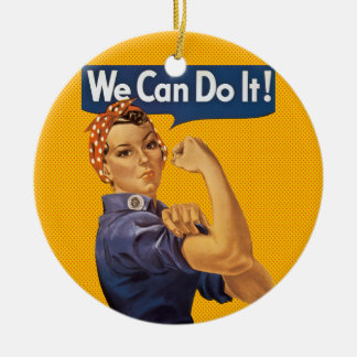 Rosie the Riveter We Can Do It! Red Polka Dots Ceramic Ornament
