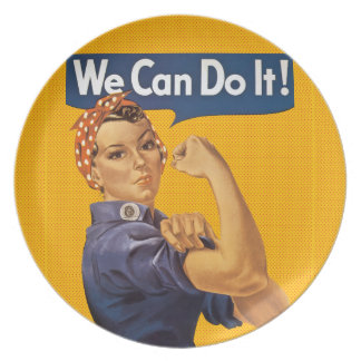 Rosie the Riveter We Can Do It! Red Polka Dots Melamine Plate