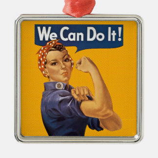 Rosie the Riveter We Can Do It! Red Polka Dots Metal Ornament