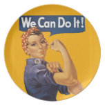 Rosie the Riveter We Can Do It! Red Polka Dots Plate