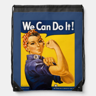 Rosie the Riveter We Can Do It! Retro Vintage Icon Drawstring Backpack