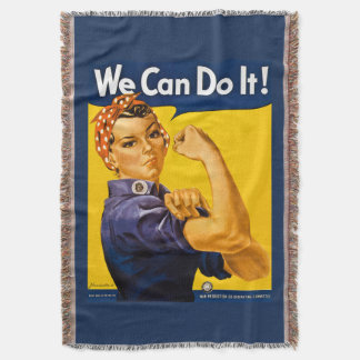 Rosie the Riveter We Can Do It Retro Vintage Icon Throw