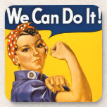 Rosie the Riveter We Can Do It Vintage Drink Coaster