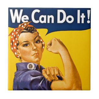 Rosie the Riveter We Can Do It Vintage Small Square Tile