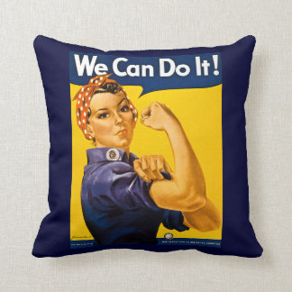 Rosie the Riveter We Can Do It Vintage Throw Pillow