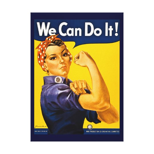 Rosie the Riveter We Can Do It Vintage World War 2 Canvas Print