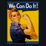"Rosie the Riveter We Can Do It!  Vintage WWII Poster<br><div class=""desc"">J. Howard Miller&#39;s &quot;We Can Do It!&quot;, commonly mistaken to be Rosie the Riveter. Rosie the Riveter is a cultural icon of the United States, representing the American women who worked in factories during World War II, many of whom worked in the manufacturing plants that produced munitions and war supplies....</div>"