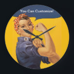 """Rosie the Riveter We Can Do It! Your Text Here Large Clock<br><div class=""""desc"""">The iconic J. Howard Miller World War II icon from 1943 has always been an inspiration with her classic,  &quot;We Can Do It!&quot; message.  Now YOU can have Rosie say whatever you want!  Great for clubs,  companies,  humorous sayings,  or whatever message inspires you.</div>"""