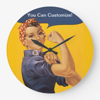 Rosie the Riveter We Can Do It! Your Text Here Large Clock