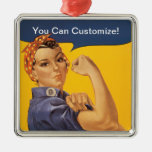 Rosie the Riveter We Can Do It! Your Text Here Square Metal Christmas Ornament