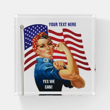 Rosie the Riveter with US Flag Patriotic Paperweight