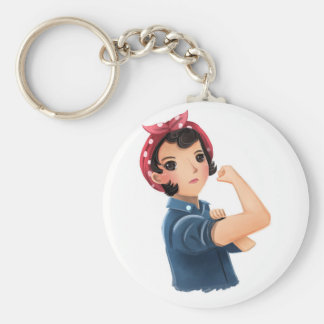 rosie the riveter women we can do it! WWII Basic Round Button Keychain