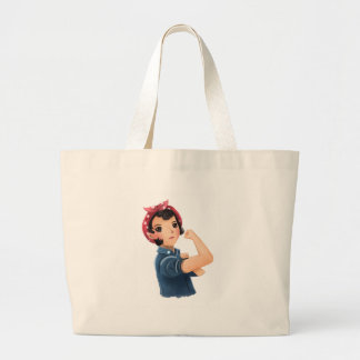 rosie the riveter women we can do it! WWII Large Tote Bag