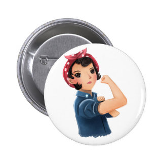 rosie the riveter women we can do it! WWII Pinback Button